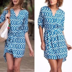 Anthropologie Maeve ikat blue and white dress